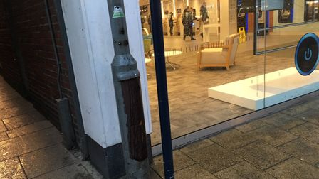 Emergency services were called to King Street as a disused lamp post caught fire. Picture: Joe Norto