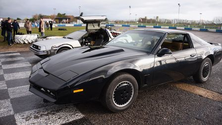 The David Hasselhof official UK KITT Knight Rider car and the Back to the Future DeLorean at the fil