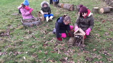 Year 4 students at Old Buckenham Primary School have been making mini-beast homes. Picture: Old Buck