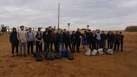 Students from the College of West Anglia's King's Lynn and Wisbech campuses braved the cold to clean