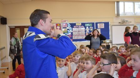 Luke Cartledge from the Norwich Theatre Royal's pantomime led dance and drama lessons at Arden Grove
