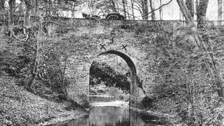 The High and Low bridge at Little Switzerland. A horse and cart can be seen above the bridge. Photo: