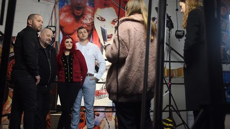 The Knight family face the media at a press day for the Hollywood film about them and wrestling call