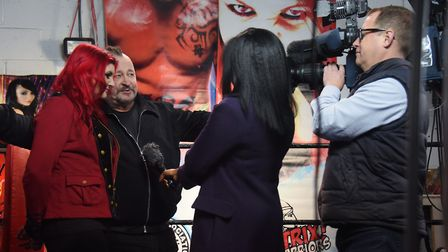 Ricky and Saraya Knight face the media at a press day for the Hollywood film about them and wrestlin
