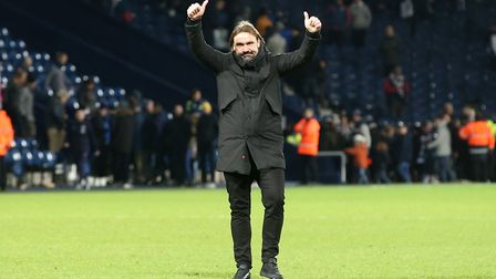 Daniel Farke acknowledges the travelling Norwich City fans at the end of the match at The Hawthorns
