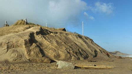 Climbing on the soft, sandy cliffs at Winterton is dangerous and accellerates erosion Picture: Winte