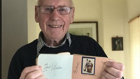 James Kennedy from Aylsham with his beloved autograph book which contains the signatures of the famo