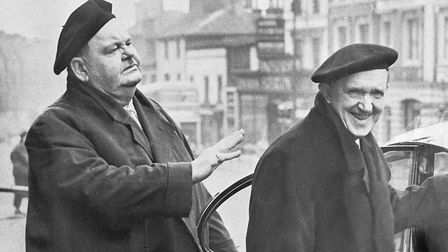 Laurel and Hardy preparing to leave The Royal Hotel for The Hippodrome Theatre in Norwich on their F