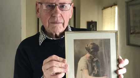 James Kennedy, 85, from Aylsham with a picture of his late mother Mabel who met Laurel and Hardy in