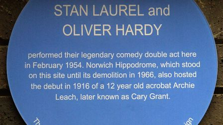 Norfolk comedians the Nimmo twins unveiled the blue plaque at St Giles car park to commemorate the v