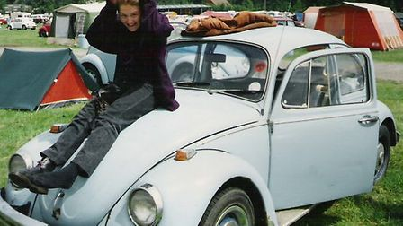 Penny with Ron the Beetle at a festival in 1992 Picture: Penny Wilby