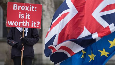 Anti Brexit demonstrators outside the Houses of Parliament in London. Photo: Stefan Rousseau/PA Wire