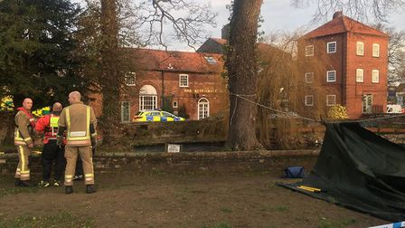Emergency services on the scene in Fakenham where a body was found in the River Wensum. Picture: Ada