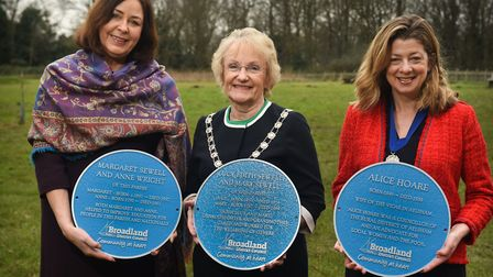 The first three plaques were unveiled by Judy Leggett, Broadland DC Chairman (centre), Vice-Chairman