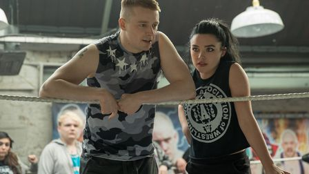 Jack Lowden (left) stars as Zak Knight and Florence Pugh (right) stars as Paige in FIGHTING WITH MY