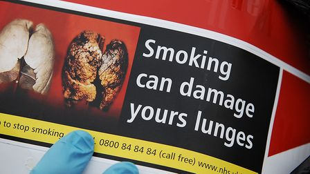 The health warning on a tobacco carton found during a raid in King's Lynn Picture: Chris Bishop