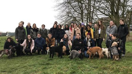 Students at the University of East Anglia enjoyed canine company at the launch of the Navigate Norfo