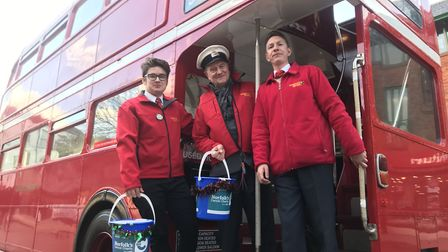 Sam Larke, Geoff Hanson and Ivan Fisher from Awayadays - who are lending their retro buses to raise