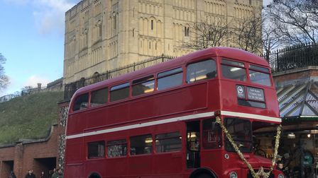 An old routemaster bus is offering free bus rides around the city in the run up to Christmas to rais
