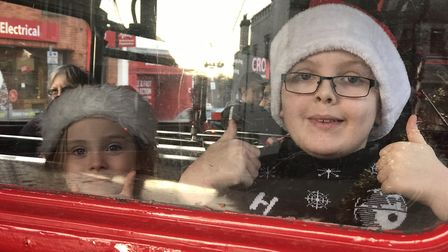 Elsa (4) and Will (10) were excited to travel on the old Routemaster bus around their home city of N