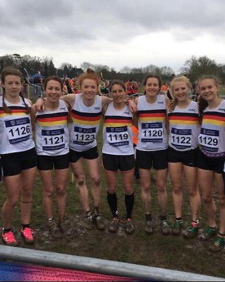 The Norfolk women's cross country team that competed at the Inter Counties Championship earlier this