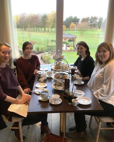 Afternoon tea at Hoseasons The Manor Resort in Lincolnshire. From left: Amie Haslen, Bethany Whymark