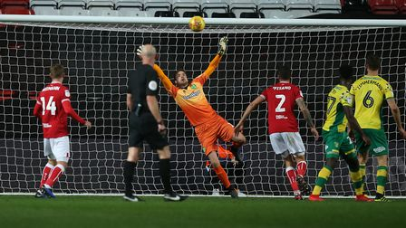 Tim Krul makes an excellent save to deny Bristol City