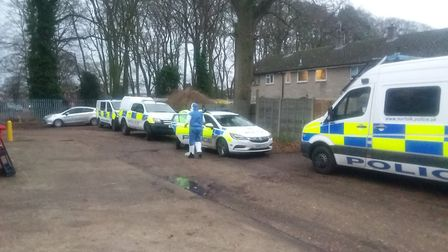 Police are on scene at the discovery of a large cannabis factory in Thetford. Picture: Breckland Pol
