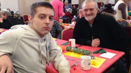 Joshua Mulley, 21 and his father John Mulley, 55, at the Norwich Open Christmas 2018. Picture: Taz A