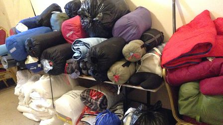 Piles of sleeping bags, pillows and blankets were given to the homeless and to those struggling to k