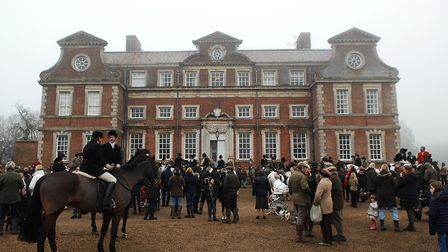 A large crowd gathered at Raynham Hall for the West Norfolk Hunt's Boxing Day meet Picture: Chris B