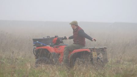 Luke Newbon disappears in to the fog as he lays the false trail for the West Norfolk Hunt Picture: