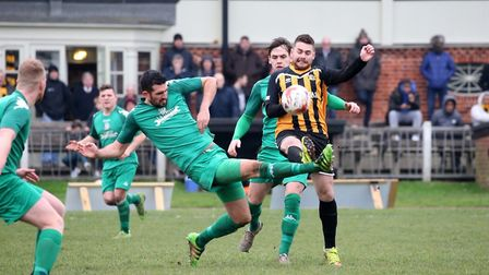 A battle for possession during the Boxing Day derby between Great Yarmouth Town and Gorleston Pictur