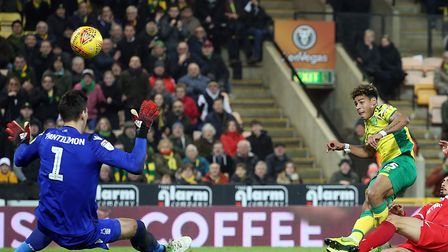 Onel Hernandez of Norwich scores his sides 3rd goal during the Sky Bet Championship match at Carrow