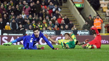 Forest keeper Costel Pantilimon watches in disbelief as Onel Hernandez finds the back of the net for