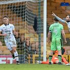 Luke Hannant, left, as David Worrall celebrates his first half equaliser for Port Vale against Colch