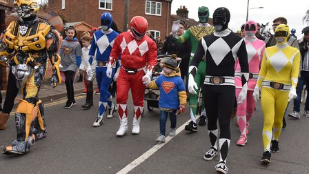 A special superhero walk to raise money for Denver Clinton takes place in Dereham. Denver on the wal