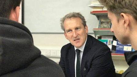 Education secretary Damian Hinds visiting City College Norwich in October Picture: Neil Didsbury