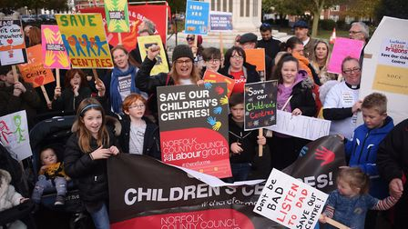 Families and children protesting against the closure of children's centres ready to march through Gr