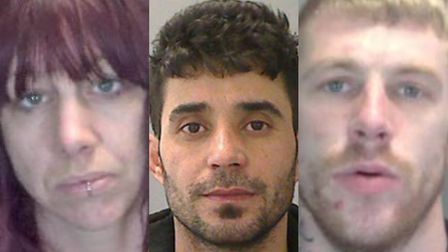 (Left to right) Angela Davey, Salah Hadi, and Matthew Sewell are wanted in Norfolk. Photo: Norfolk C