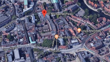 A map showing St Michael-at-Pleas location in Norwich. Photo: Google