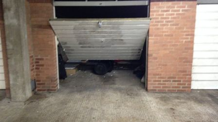 One of the garages which had been broken into and used as a temporary squat. Photo: Luke Powell