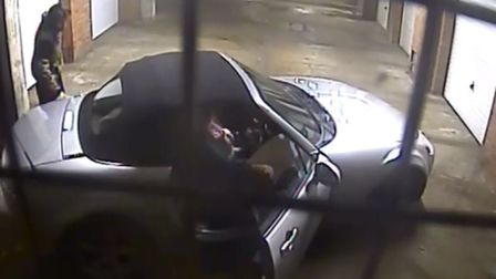 The rough sleeper punches the woman's car as she gets back inside. Photo: Submitted