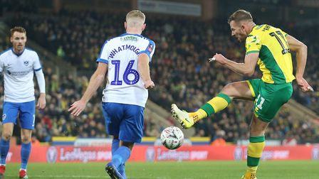 Jordan Rhodes of Norwich has a shot on goal during the FA Cup match at Carrow Road, Norwich Picture:
