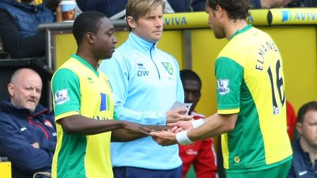 Jamar Loza replaced Johan Elmander as he made his Canaries debut during a Premier League game agains
