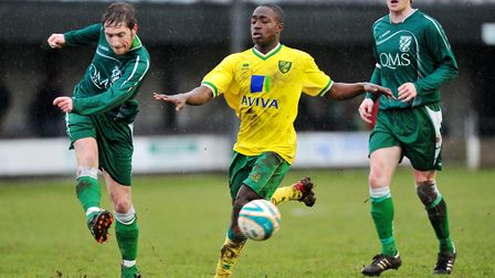 Jamar Loza was with Norwich from the age of 15, pictured here in Norfolk Senior Cup action against G