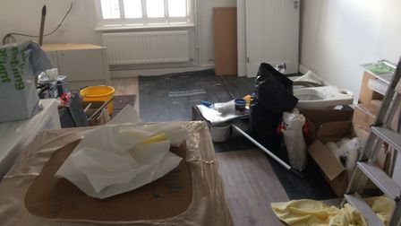 Their front room is a mess after building work stopped on the project in September. Photo: Archant