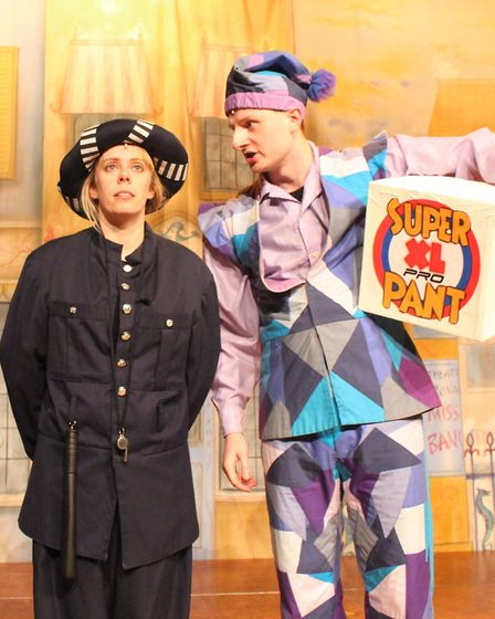 The policeman (Daisy Plackett) and Wishee Washee (Callan Durrant).Pictures: Darren France