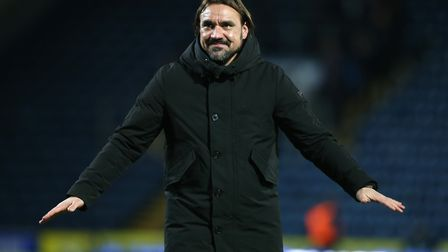 Daniel Farke was able to enjoy his moment of celebration with the travelling fans again Picture: Pau
