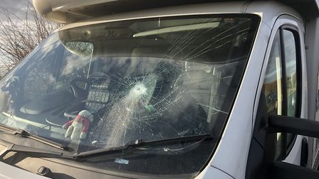 Colin Empson's van which was damaged. Submitted by Colin Empson.